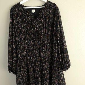 Black Floral Oversized Long Sleeve Dress